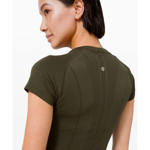 LULULEMON Swiftly Tech Top Olive Green Yoga 12 10